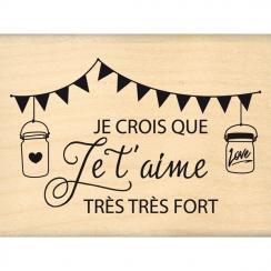 PROMO de -60% sur Tampon bois JE CROIS QUE JE T'AIME Florilèges Design