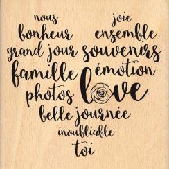 Tampon bois CŒUR DE SOUVENIRS par Florilèges Design. Scrapbooking et loisirs créatifs. Livraison rapide et cadeau dans chaque...