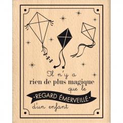 Tampon bois REGARD ÉMERVEILLÉ par Florilèges Design. Scrapbooking et loisirs créatifs. Livraison rapide et cadeau dans chaque...