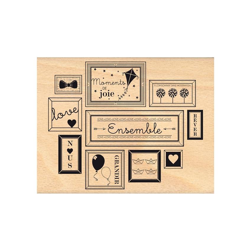 Tampon bois D'UN CADRE À L'AUTRE par Florilèges Design. Scrapbooking et loisirs créatifs. Livraison rapide et cadeau dans cha...