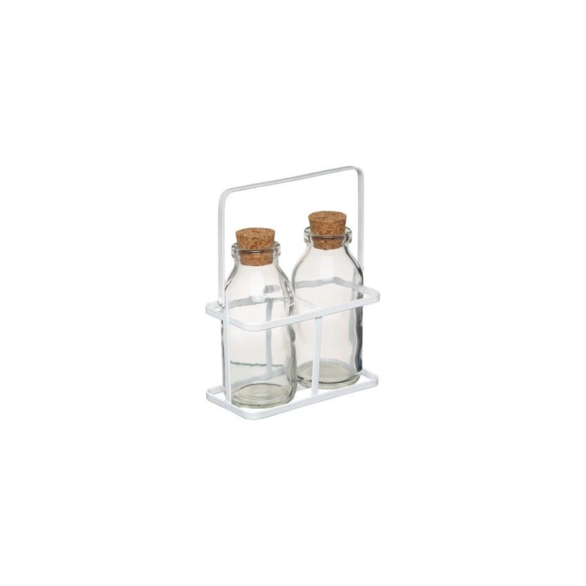 Panier métal avec 2 bouteilles