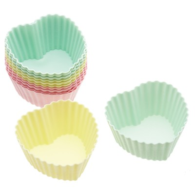 Caissettes à cupcakes silicone coeurs 7 cm