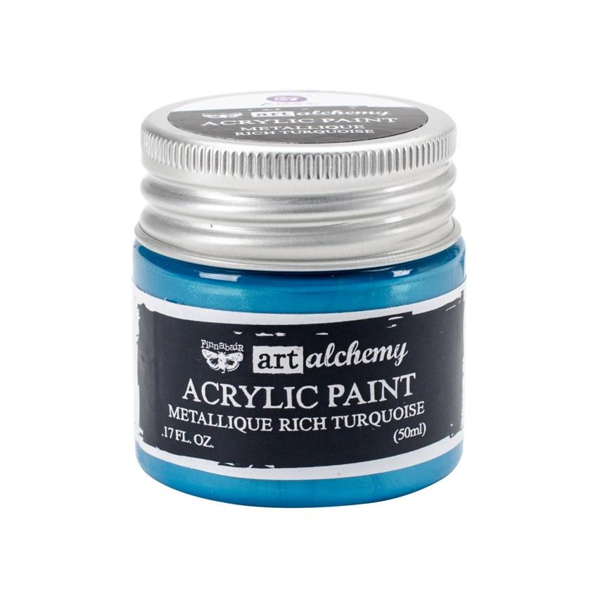 Peinture acrylique Finnabair métallique RICH TURQUOISE par Prima Marketing. Scrapbooking et loisirs créatifs. Livraison rapid...