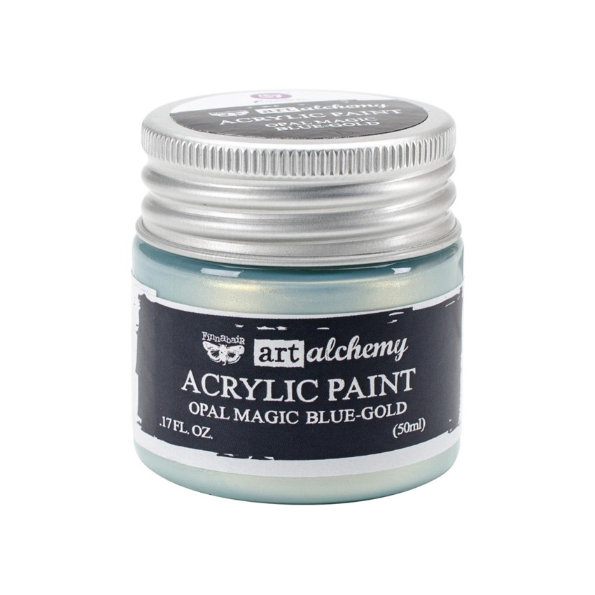 Peinture acrylique nacrée Art Alchemy BLUE GOLD par Prima Marketing. Scrapbooking et loisirs créatifs. Livraison rapide et ca...