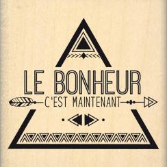 Tampon bois BONHEUR MAINTENANT par Florilèges Design. Scrapbooking et loisirs créatifs. Livraison rapide et cadeau dans chaqu...