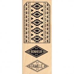Tampon bois ÉTIQUETTE AZTÈQUE par Florilèges Design. Scrapbooking et loisirs créatifs. Livraison rapide et cadeau dans chaque...