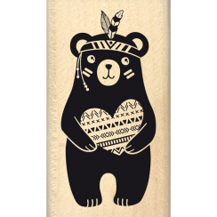 Tampon bois OURSON AU GRAND COEUR par Florilèges Design. Scrapbooking et loisirs créatifs. Livraison rapide et cadeau dans ch...