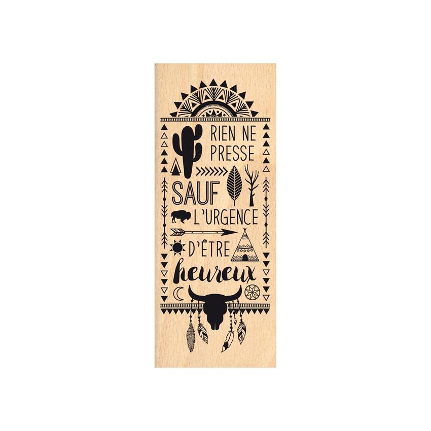 Tampon bois RIEN NE PRESSE par Florilèges Design. Scrapbooking et loisirs créatifs. Livraison rapide et cadeau dans chaque co...