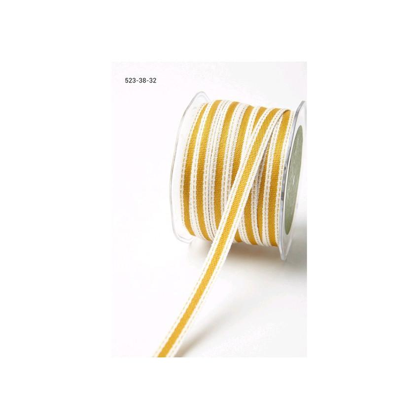 Ruban rayé à coutures OCRE par May Arts. Scrapbooking et loisirs créatifs. Livraison rapide et cadeau dans chaque commande.