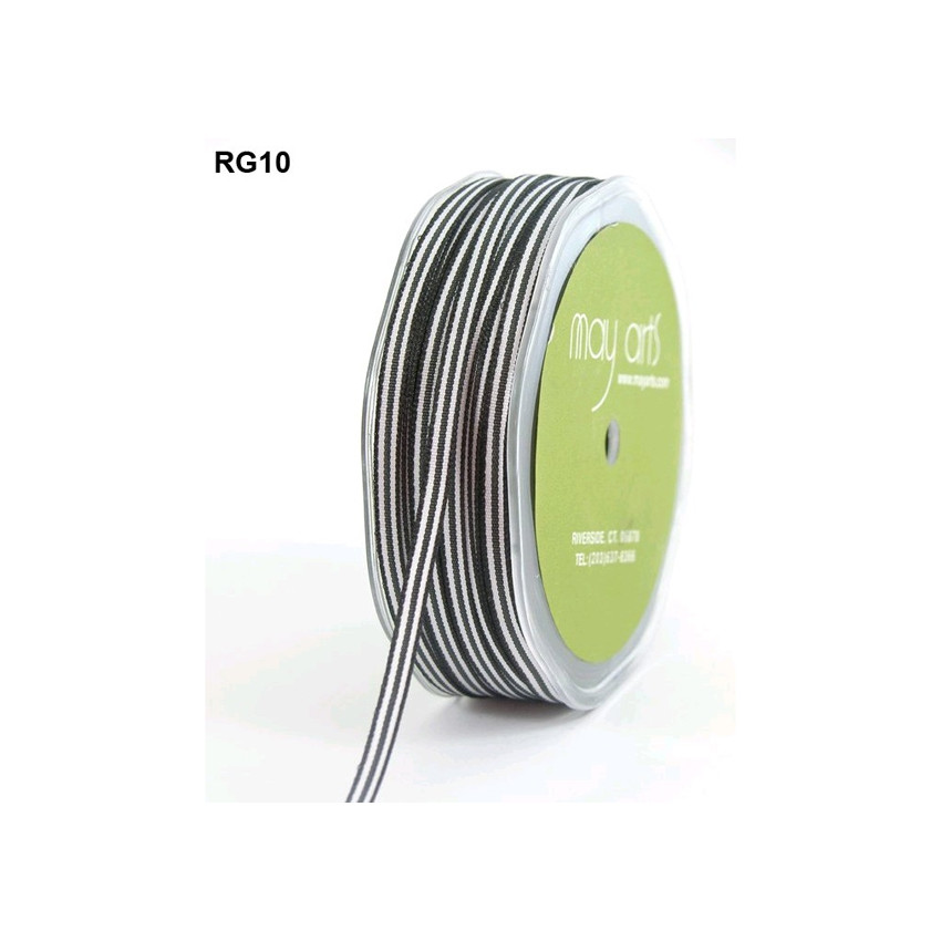 PROMO de -99.99% sur Ruban gros grain rayé NOIR ET BLANC May Arts