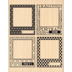 Tampon bois QUATRE POLAS par Florilèges Design. Scrapbooking et loisirs créatifs. Livraison rapide et cadeau dans chaque comm...
