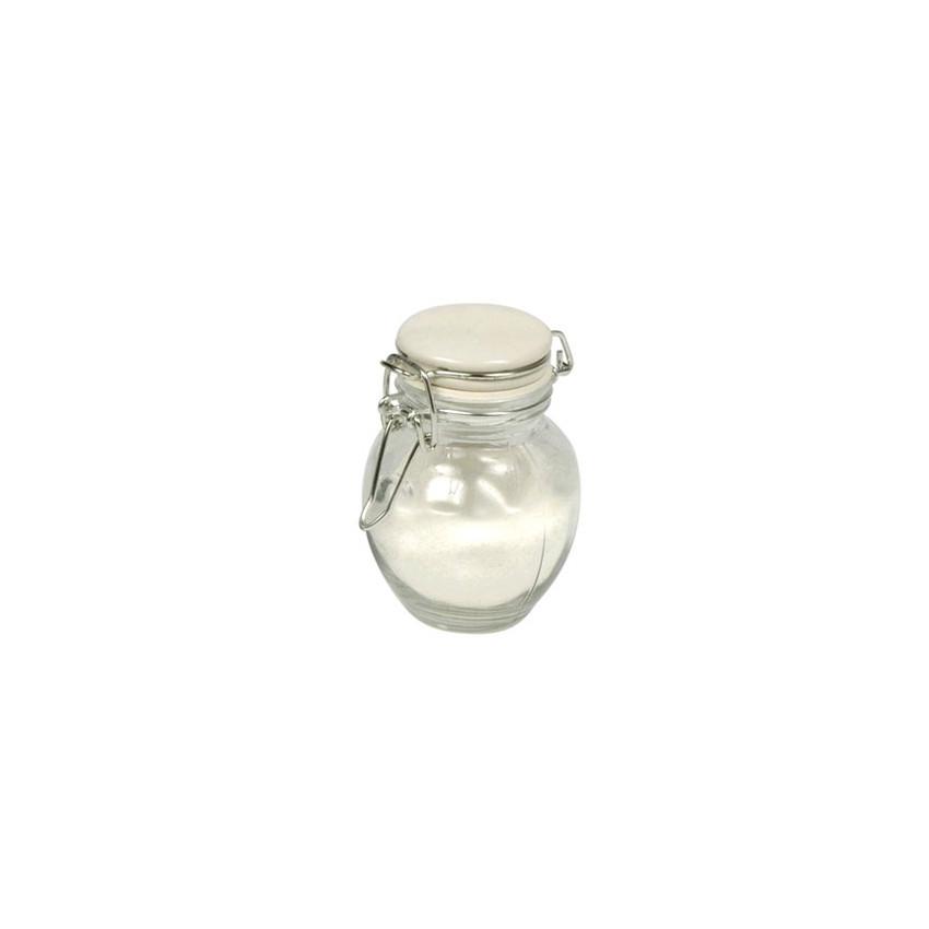 Petit bocal rond avec couvercle blanc