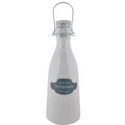 Grande bouteille de lait porcelaine blanche