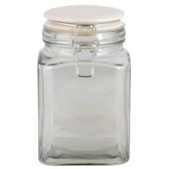 Moyen bocal carré couvercle blanc
