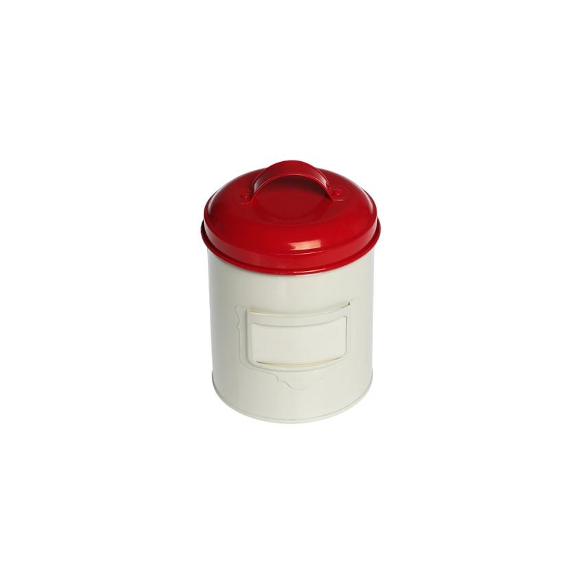 Petite boite métal couvercle rouge