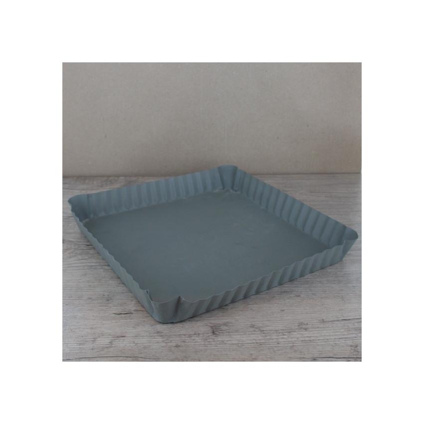Plateau métal carré dentelé
