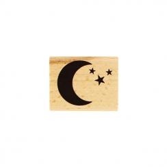 Tampon bois DANS LA LUNE par Florilèges Design. Scrapbooking et loisirs créatifs. Livraison rapide et cadeau dans chaque comm...