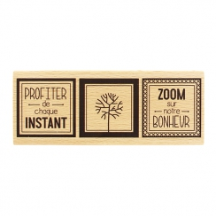 Tampon bois ZOOM SUR LE BONHEUR par Florilèges Design. Scrapbooking et loisirs créatifs. Livraison rapide et cadeau dans chaq...