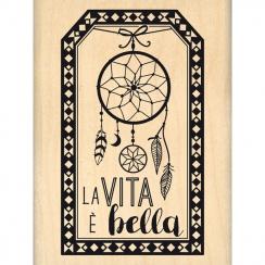 Tampon bois italien ETICHETTA LA VITA par Florilèges Design. Scrapbooking et loisirs créatifs. Livraison rapide et cadeau dan...