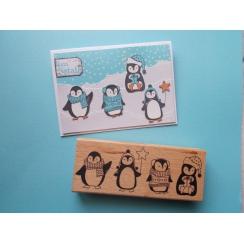 Tampon bois QUATRE PINGOUINS par Florilèges Design. Scrapbooking et loisirs créatifs. Livraison rapide et cadeau dans chaque ...