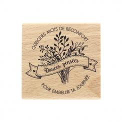 PROMO de -60% sur Tampon bois MOTS DE RÉCONFORT Florilèges Design