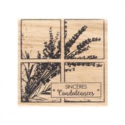 Tampon bois SINCÈRES CONDOLÉANCES par Florilèges Design. Scrapbooking et loisirs créatifs. Livraison rapide et cadeau dans ch...