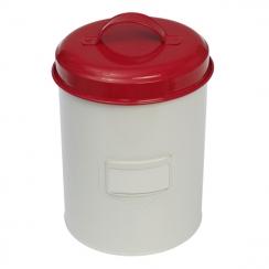 Large vintage red enamel cannister