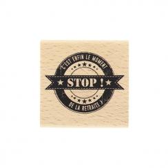 PROMO de -99.99% sur Tampon bois ENFIN LA RETRAITE Florilèges Design