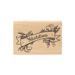 Tampon bois BANNIERE FÉLICITATIONS par Florilèges Design. Scrapbooking et loisirs créatifs. Livraison rapide et cadeau dans c...