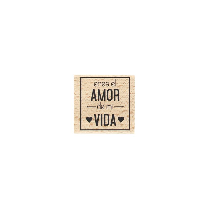 Tampon bois espagnol AMOR DE MI VIDA par Florilèges Design. Scrapbooking et loisirs créatifs. Livraison rapide et cadeau dans...