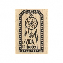 Tampon bois espagnol LA VIDA ES BELLA