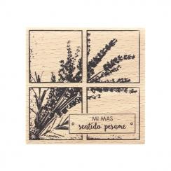 Tampon bois espagnol SINCERAS CONDOLENCIAS par Florilèges Design. Scrapbooking et loisirs créatifs. Livraison rapide et cadea...