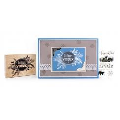 Tampon bois PASTILLE DE VOEUX par Florilèges Design. Scrapbooking et loisirs créatifs. Livraison rapide et cadeau dans chaque...
