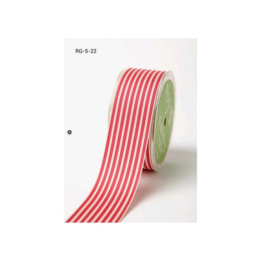 Ruban large gros grain rayé FUCHSIA/IVOIRE par May Arts. Scrapbooking et loisirs créatifs. Livraison rapide et cadeau dans ch...