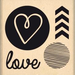 Tampon bois LOVE GRAPHIQUE
