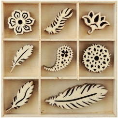 Embellissements en bois plumes FEATHER