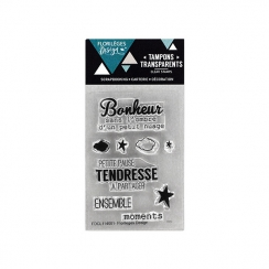 Tampons clear mini BONHEUR TENDRESSE par Florilèges Design. Scrapbooking et loisirs créatifs. Livraison rapide et cadeau dans...