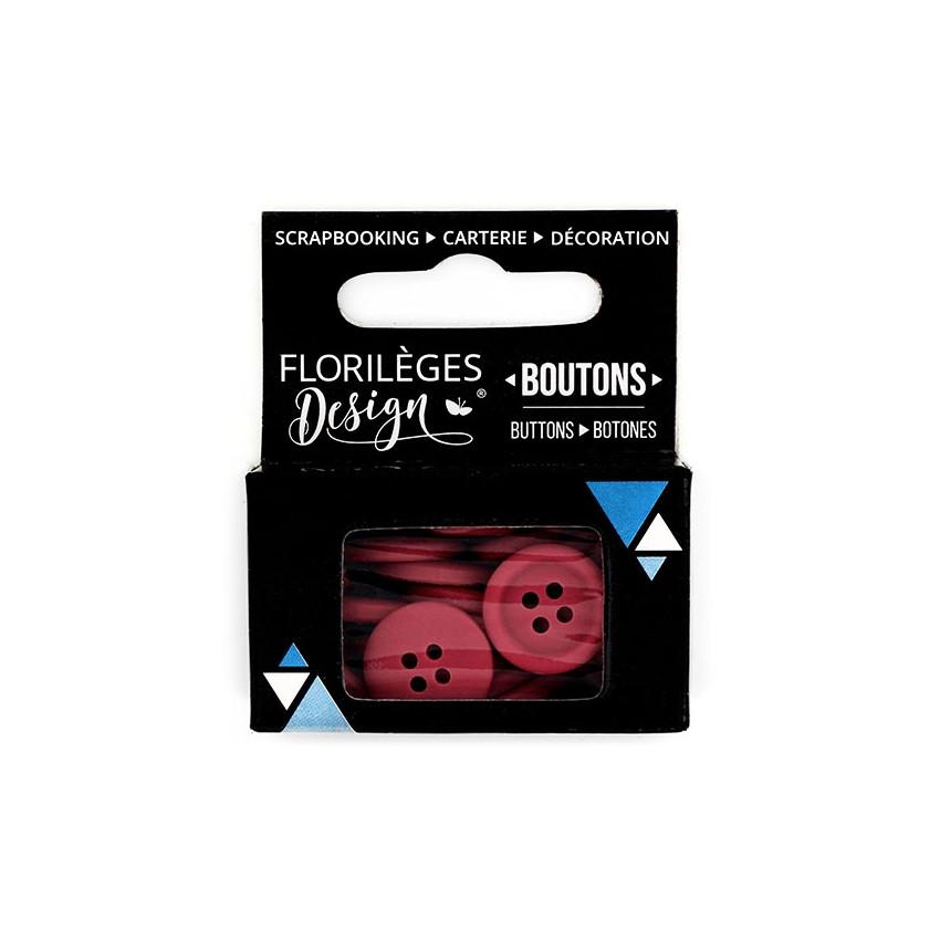 Boutons Carmin par Florilèges Design. Scrapbooking et loisirs créatifs. Livraison rapide et cadeau dans chaque commande.