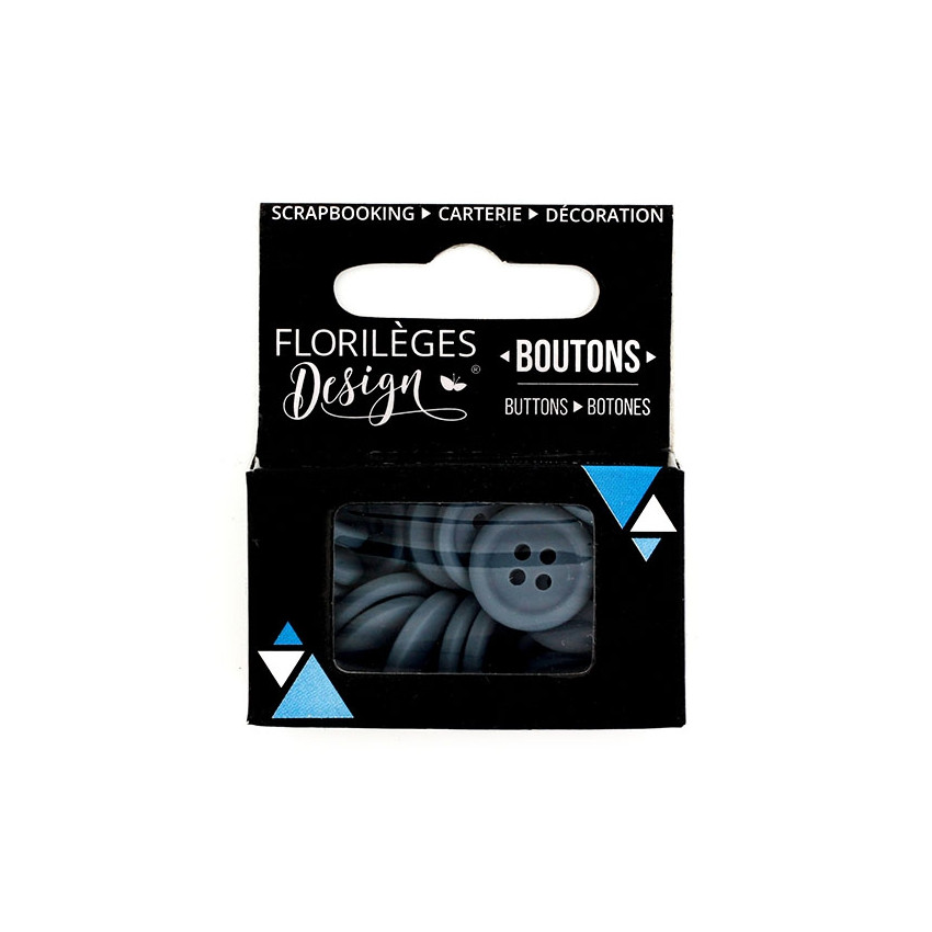 Boutons Anthracite par Florilèges Design. Scrapbooking et loisirs créatifs. Livraison rapide et cadeau dans chaque commande.