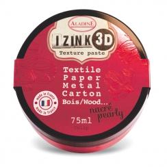 Pâte texture 3D IZINK rouge nacré TULIP