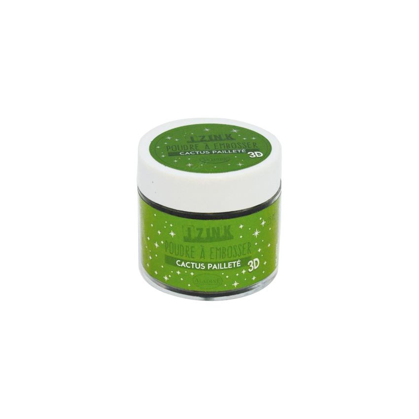 Poudre à embosser vert pailleté CACTUS