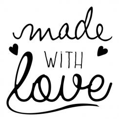 Tampon bois MADE WITH LOVE 2 par Aladine. Scrapbooking et loisirs créatifs. Livraison rapide et cadeau dans chaque commande.