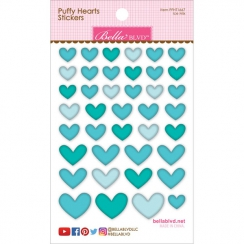 Cœurs autocollants en 3D Puffy stickers Bleu Turquoise  ICE MIX