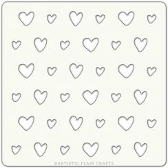 Pochoir 10 x 10 SCRAPPY HEARTS