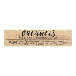 Tampon bois VACANCES BONHEUR par Florilèges Design. Scrapbooking et loisirs créatifs. Livraison rapide et cadeau dans chaque ...