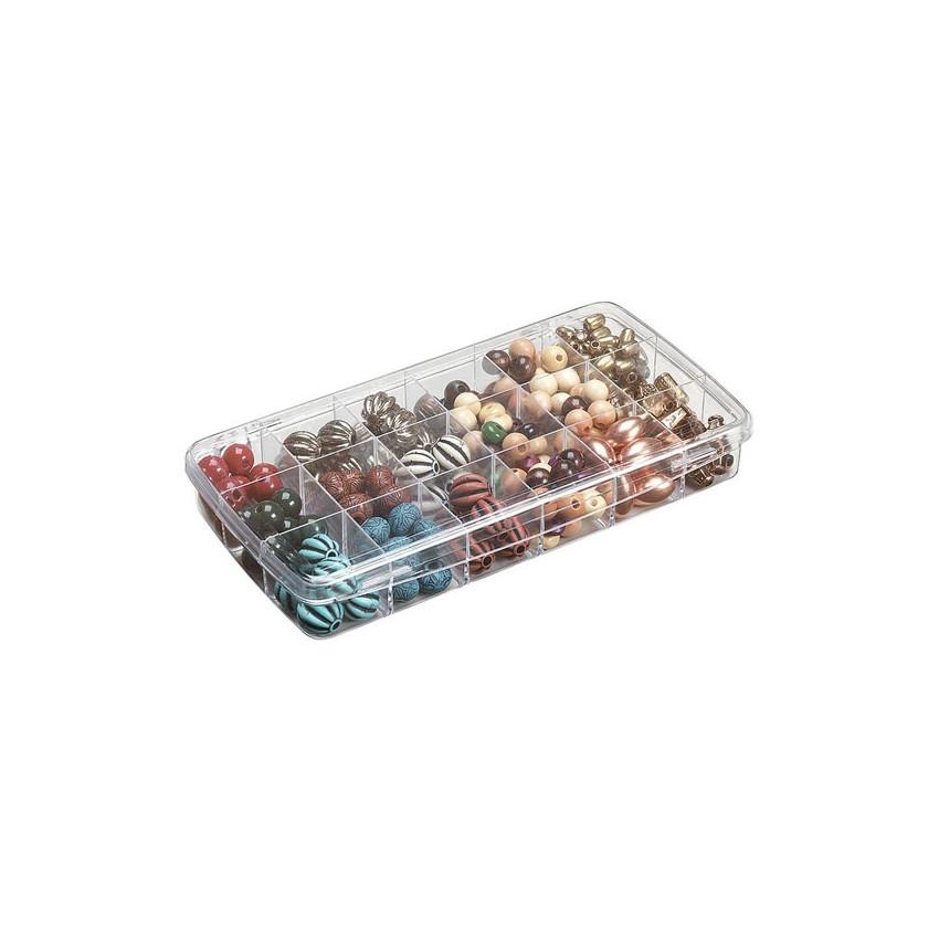 Petite boite de rangement pour embellissements à 18 compartiments