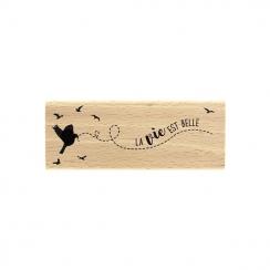Tampon bois UN OISEAU M'A DIT par Florilèges Design. Scrapbooking et loisirs créatifs. Livraison rapide et cadeau dans chaque...