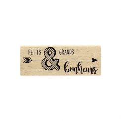 Tampon bois BONHEUR FLÉCHÉ par Florilèges Design. Scrapbooking et loisirs créatifs. Livraison rapide et cadeau dans chaque co...