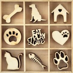 Embellissements en bois animaux de compagnie PETS