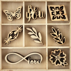 PROMO de -40% sur Embellissements en bois BE YOU Kaisercraft